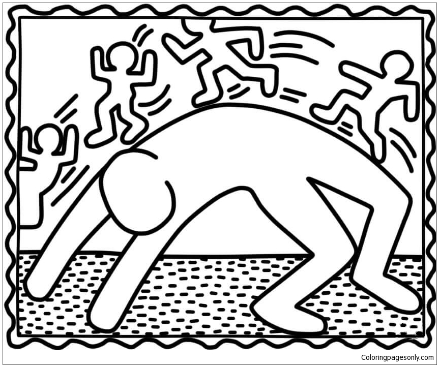 Bridge Exercise by Keith Haring Coloring Page Free