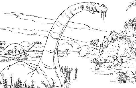 Brontosaurus-Apatosaurus, Stegosaurus and Rhamphorhynchus