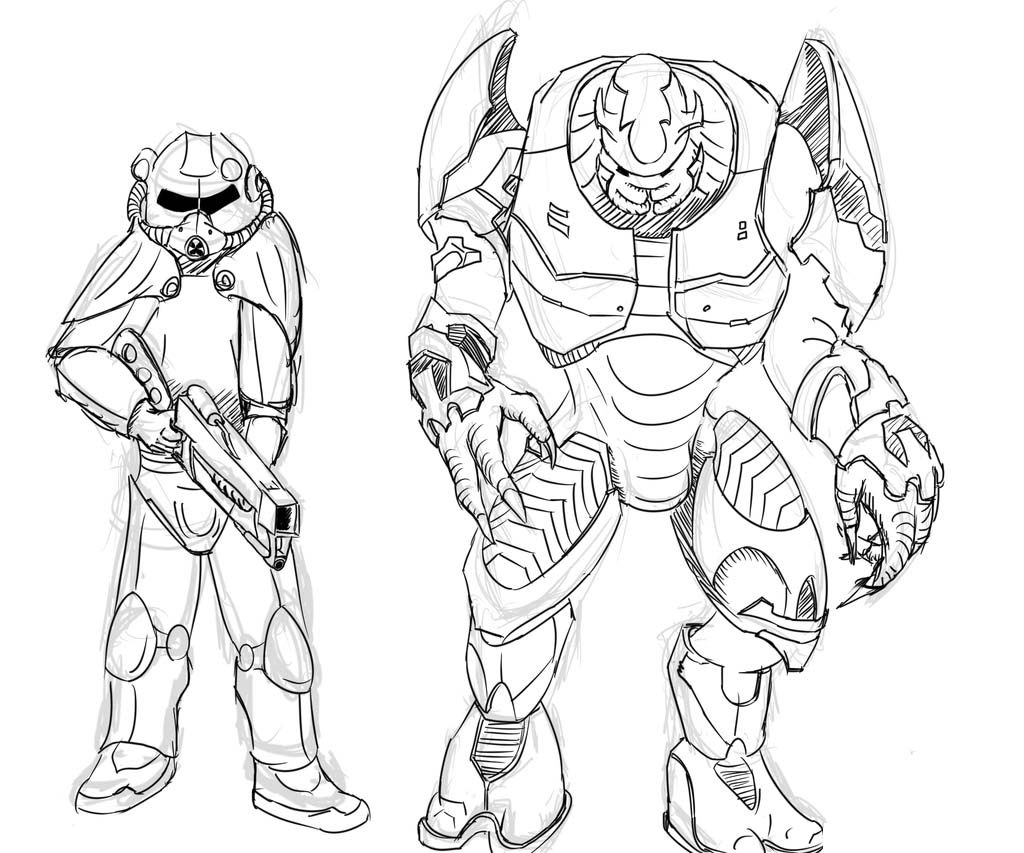 Brotherhood Of Steel And Elites From Halo