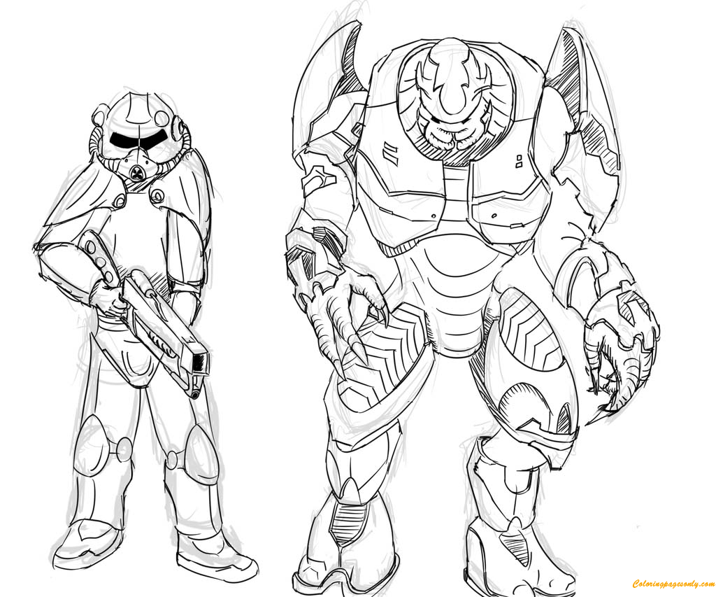Brotherhood Of Steel And Elites From Halo Coloring Page - Free ...