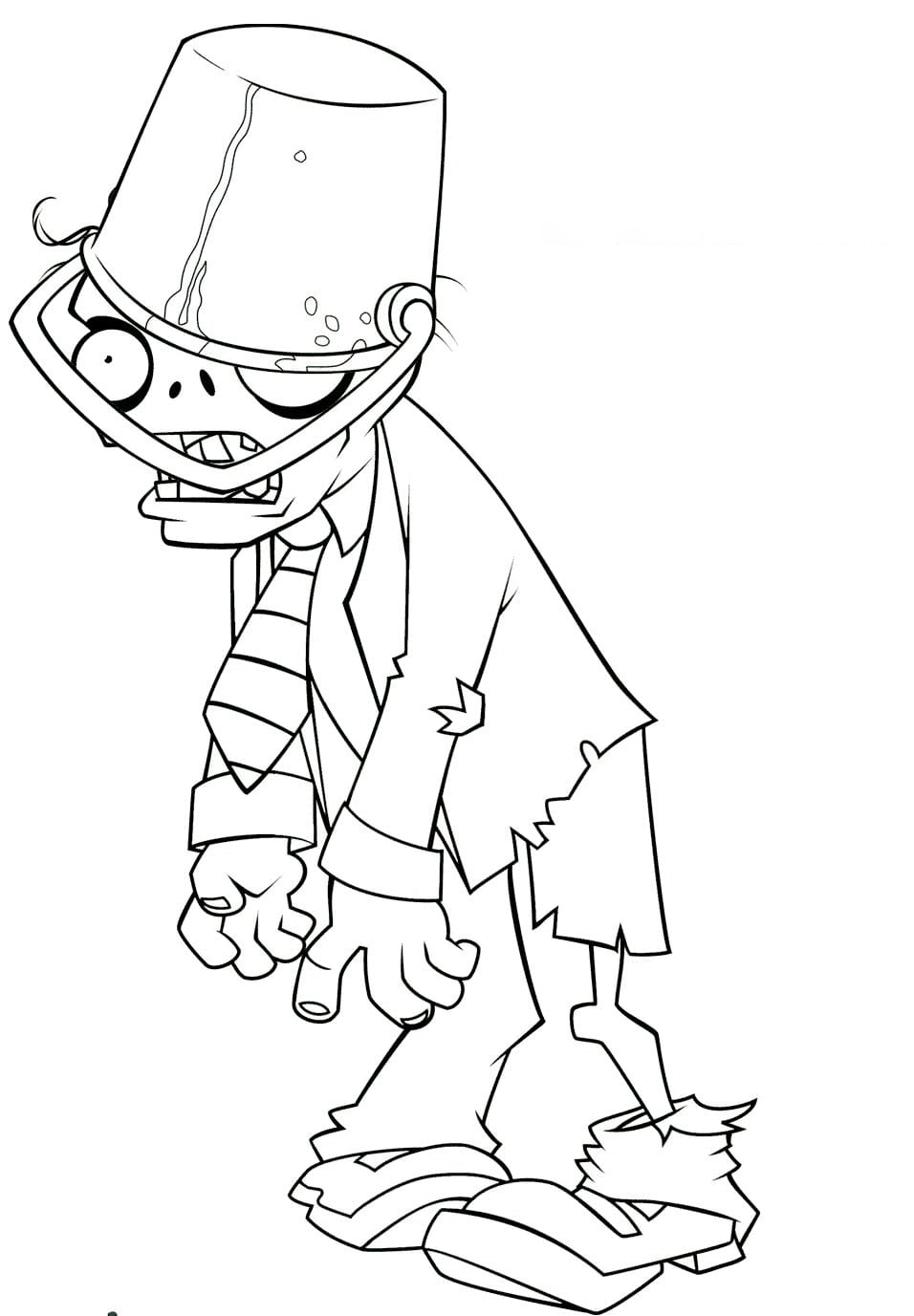 Buckethead Zombie Coloring Page