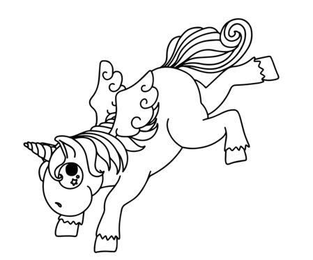 Bucking Cartoon Unicorn  Coloring Page