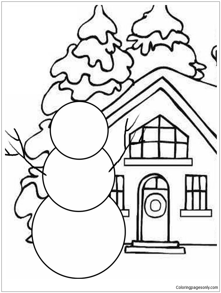 Build Your Own Snowman Coloring Page