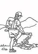 Building A Campfire At The Foot Of The Mountain Coloring Page