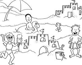 Building Sand Castle On A Beach Trip Coloring Page