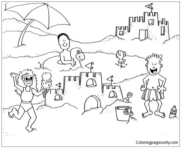 Building Sand Castle On A Beach Trip Coloring Page - Free Coloring ...