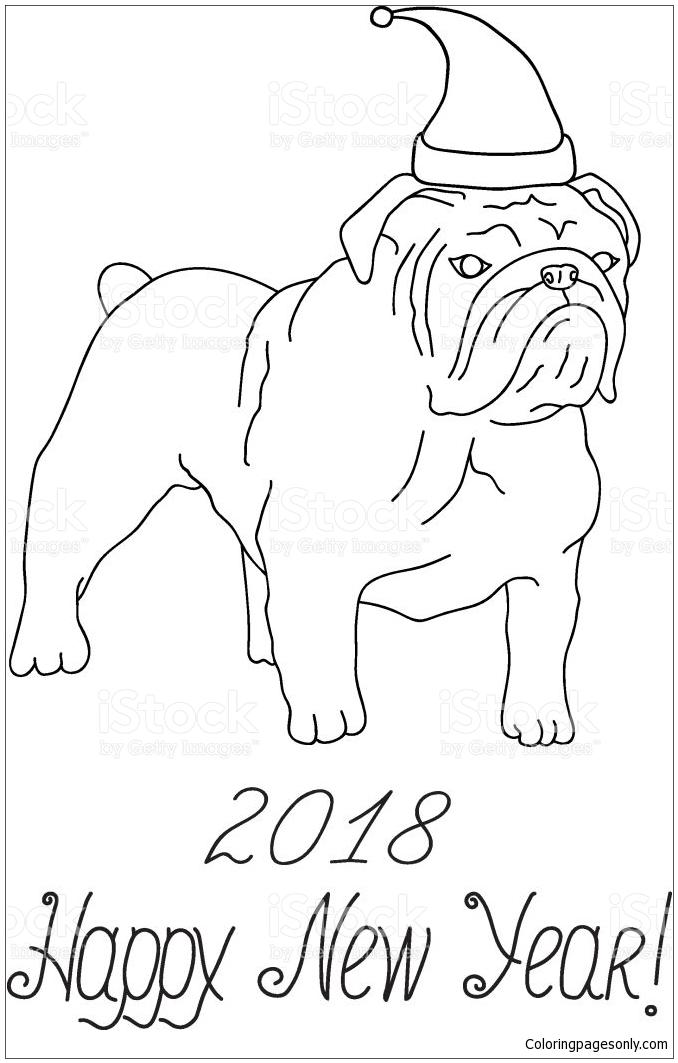 Bulldog In Santa Claus Hat Sitting Coloring Page