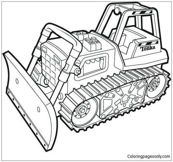 Bulldozer Monster Truck Coloring Page
