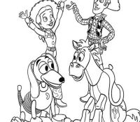 Woody, Jessie and Bullseye Toy Story Coloring Page