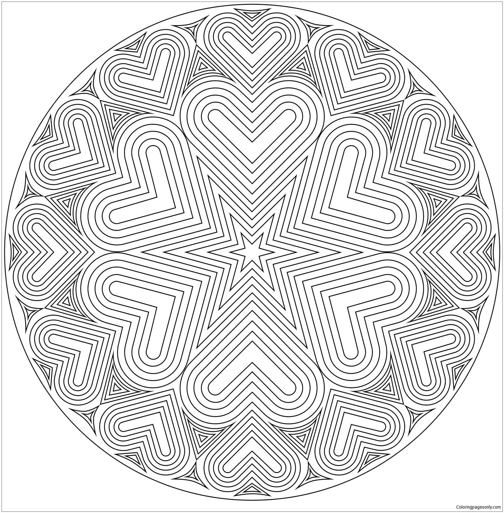 Bullseye Heart Mandala Coloring Page