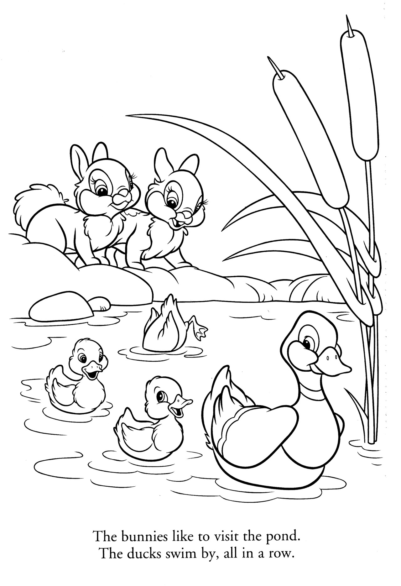 Bunnies And Ducks Coloring Page