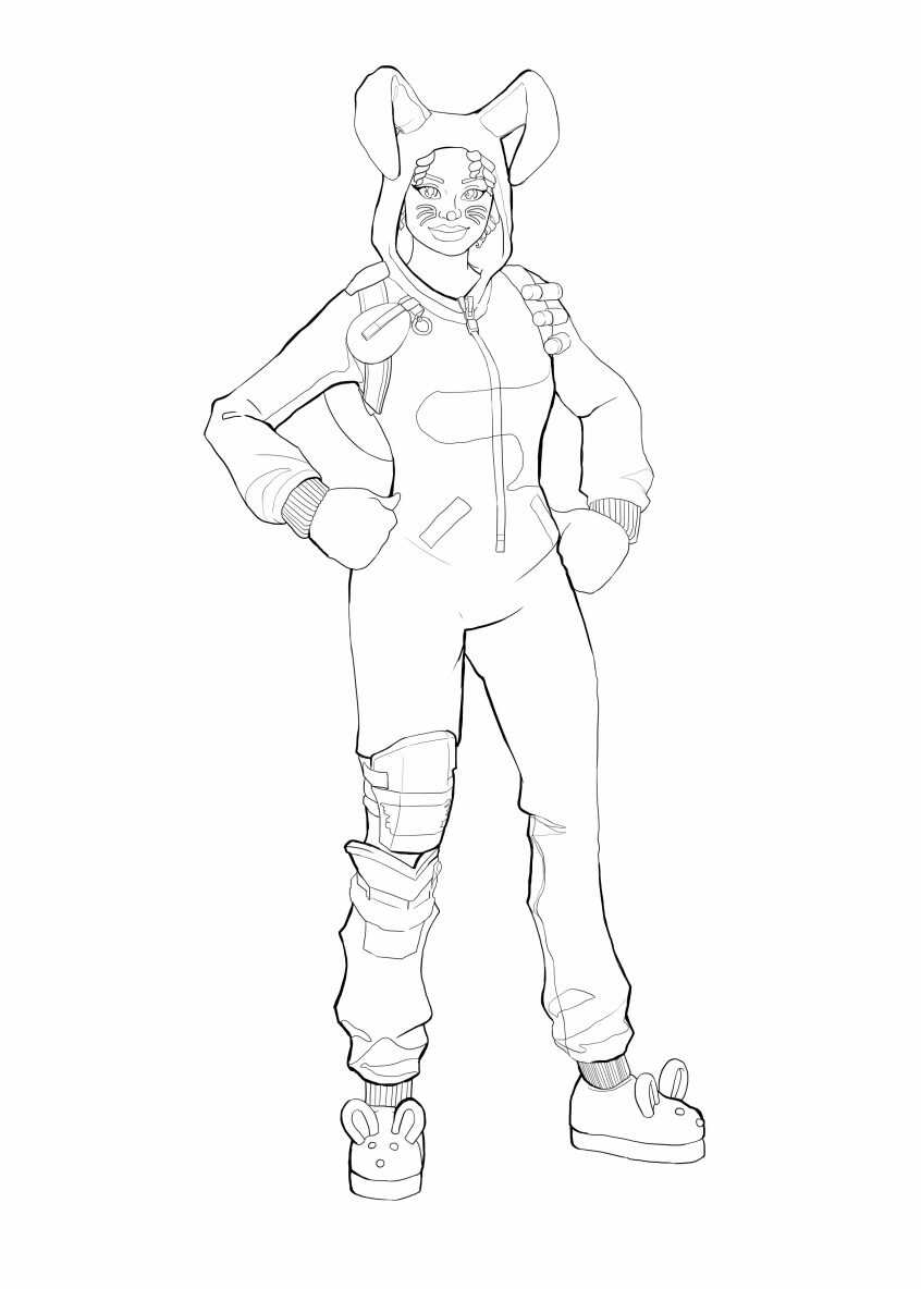 Bunny Brawler Girl from Fortnite Coloring Page