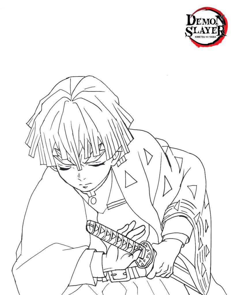 Bushido Zenitsu Coloring Page
