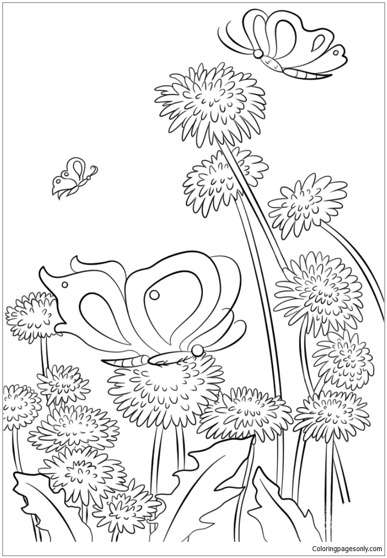 Butterflies And Flowers Coloring Page