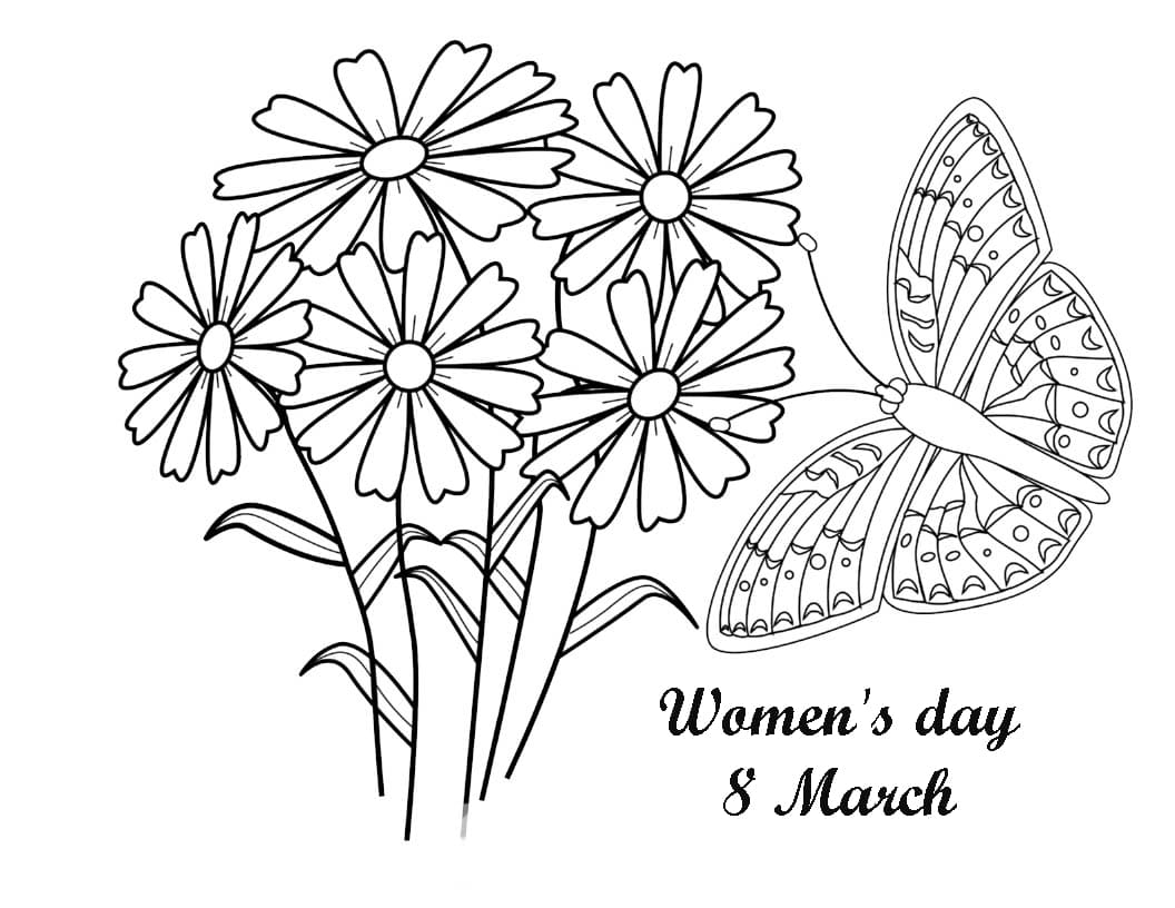 Butterfly and Womens Day Coloring Page