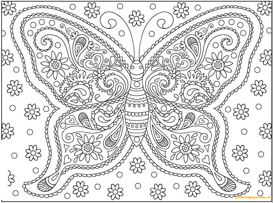 Butterfly Simple But Hard Coloring Page - Free Coloring Pages Online