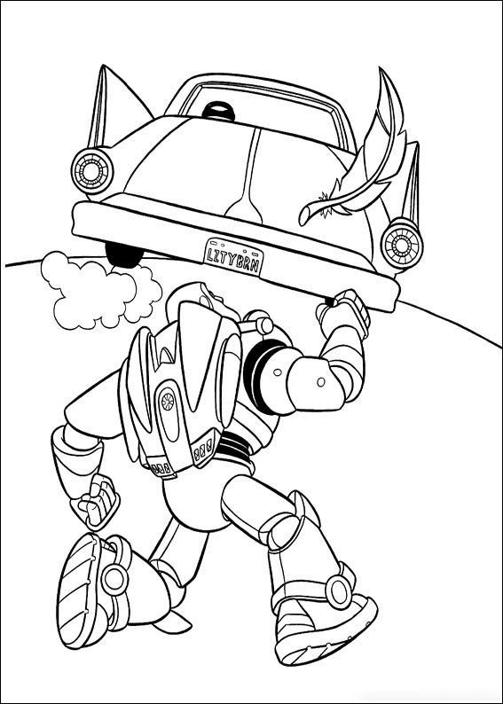 Buzz chases the car Coloring Page