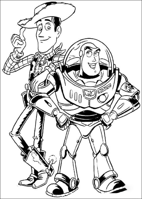 Buzz Lightyear and Woody Sheriff Coloring Page