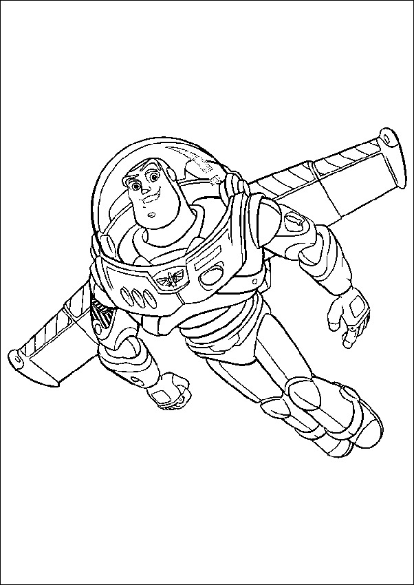 Buzz Lightyear is flying Coloring Page