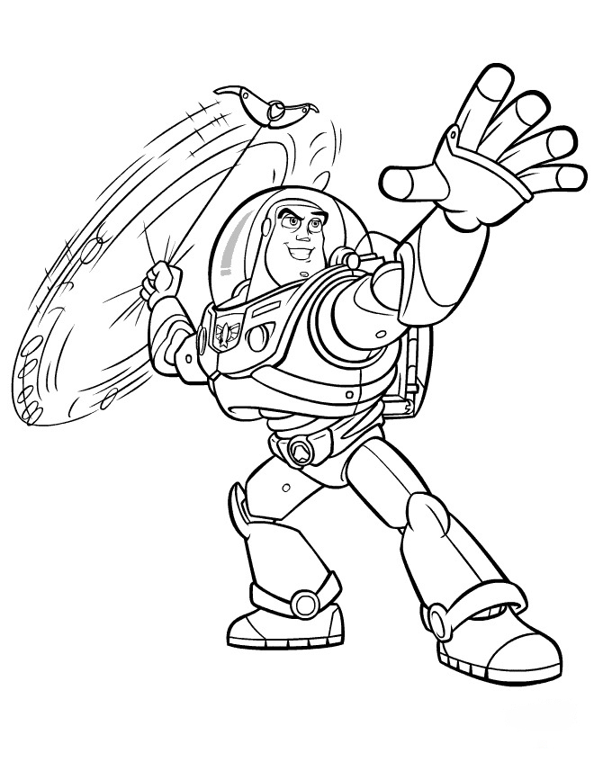 Buzz Lightyear plays the weapon Coloring Page