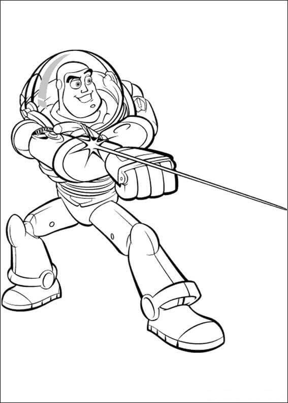 Buzz Lightyear shoots the light Coloring Page