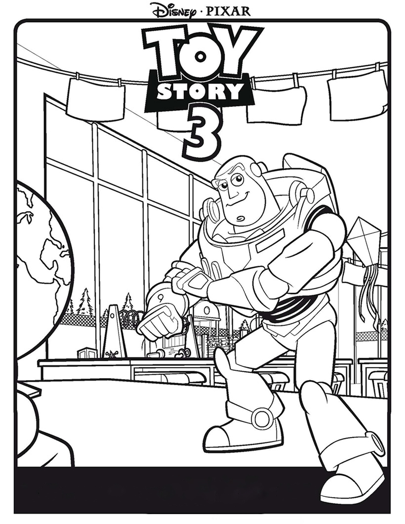 Buzz Lightyear with globe Coloring Page