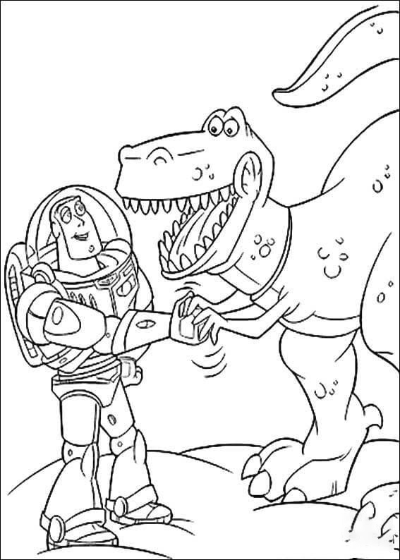 Buzz Lightyear with Rex Coloring Page
