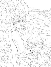 By the Seashore by Pierre Auguste Renoir Coloring Page