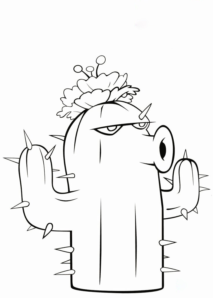 Cactus from Plants vs Zombies Coloring Page