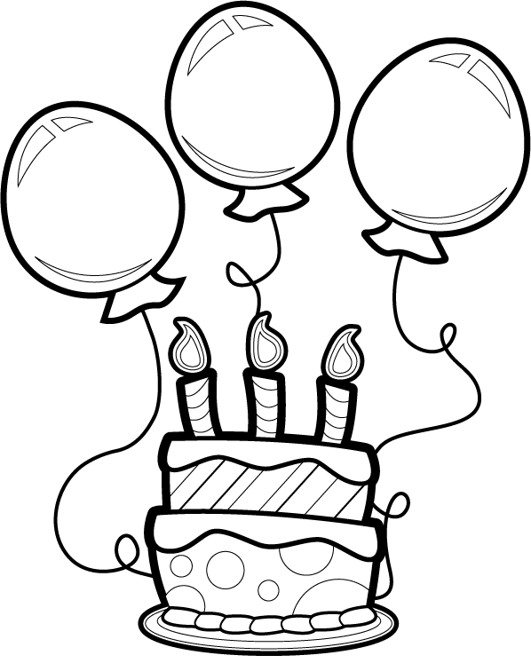 Beautiful Balloons for Birthday coloring page for kids, holiday ... | 756x598