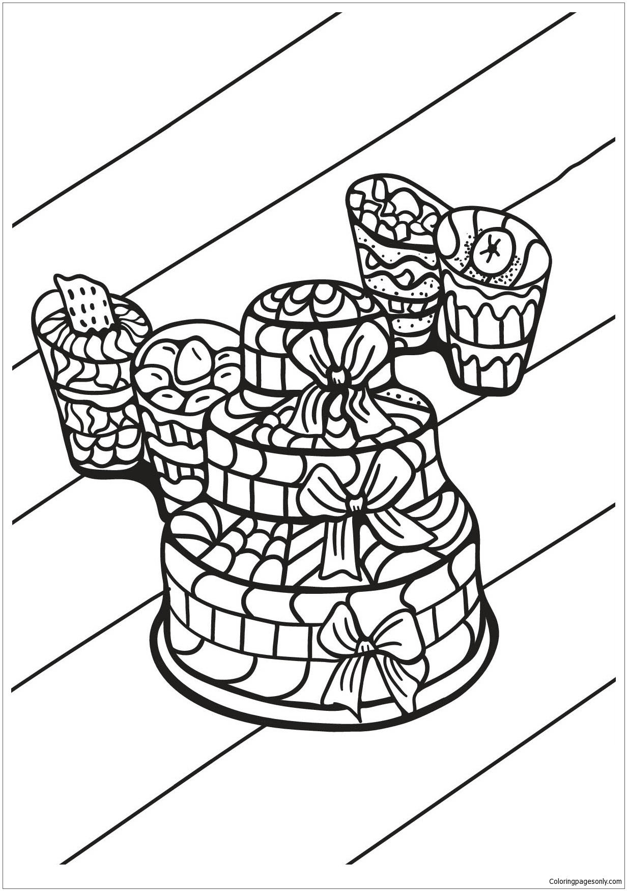 Cake And Cupcakes Coloring Page Free Coloring Pages Online