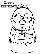 Minion and Cake Happy Birthday  Coloring Page
