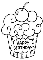 Cake Birthday Coloring Page