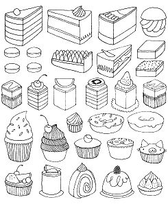 Cake Desserts Coloring Page