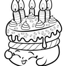 Cake Wishes Shopkins Coloring Page