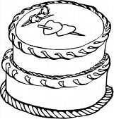 Cake With Big Hearts Coloring Page
