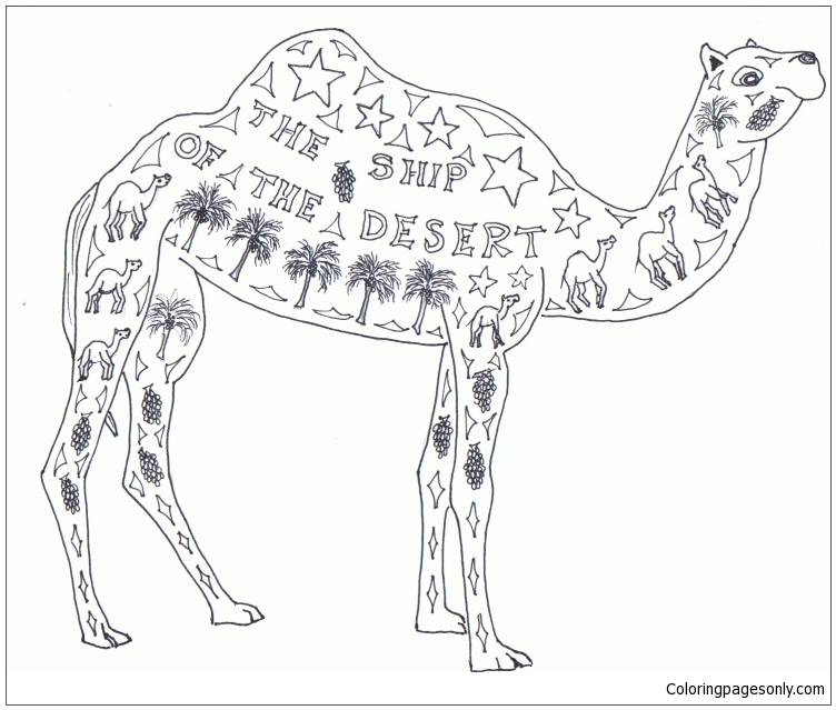 Camel The Ship Of The Desert Coloring Page Free Coloring Pages Coloring Pages Camel