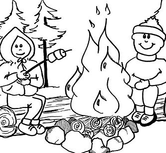 Camping In The Forest Coloring Page