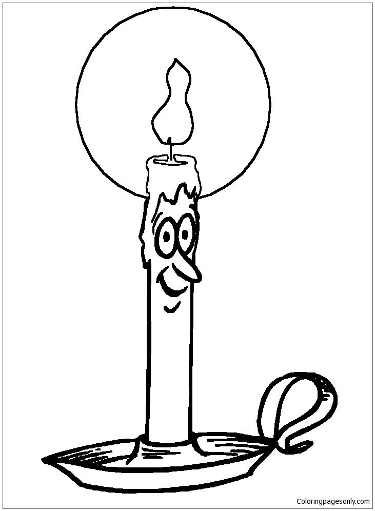 Candle With Face 4 Coloring Page