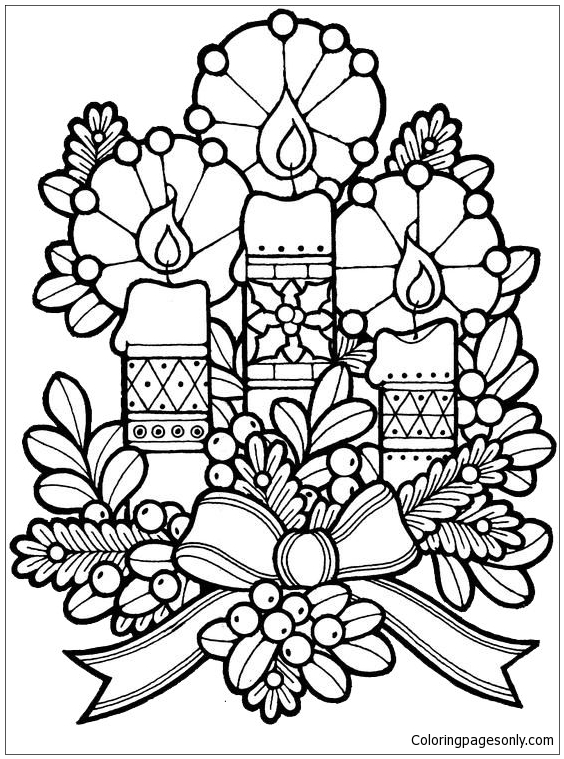 Candles And Flowers Christmas Decoration Coloring Page