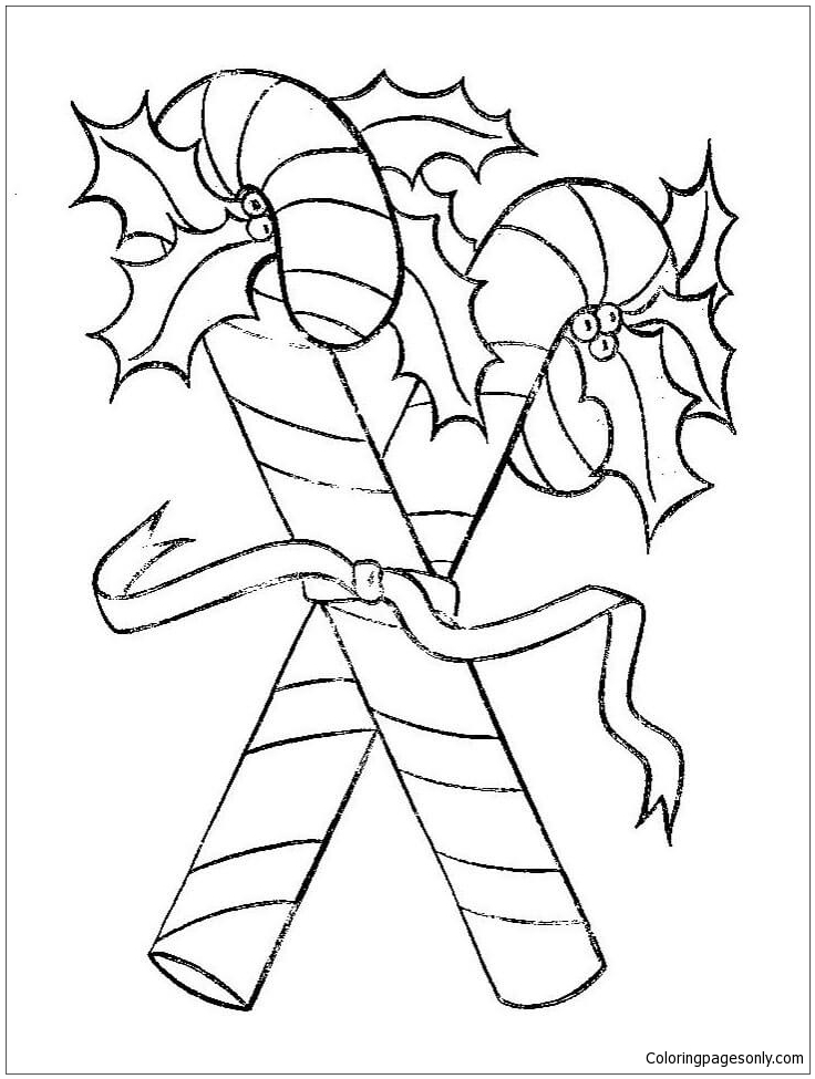 Candy Canes For Christmas Coloring Page Free Coloring