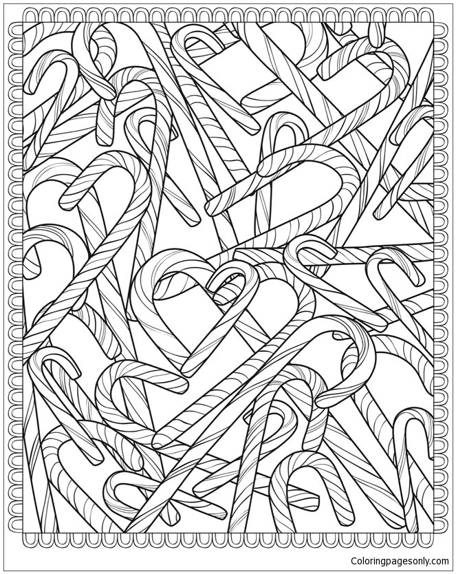 Candy Canes Coloring Page Free