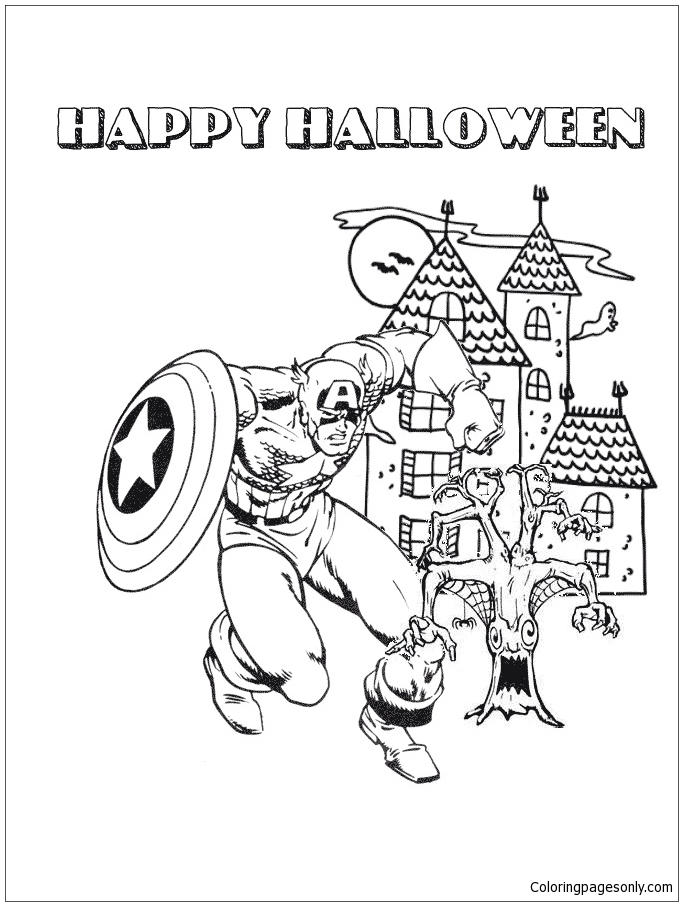 Captain America And Halloween Haunted House Coloring Page