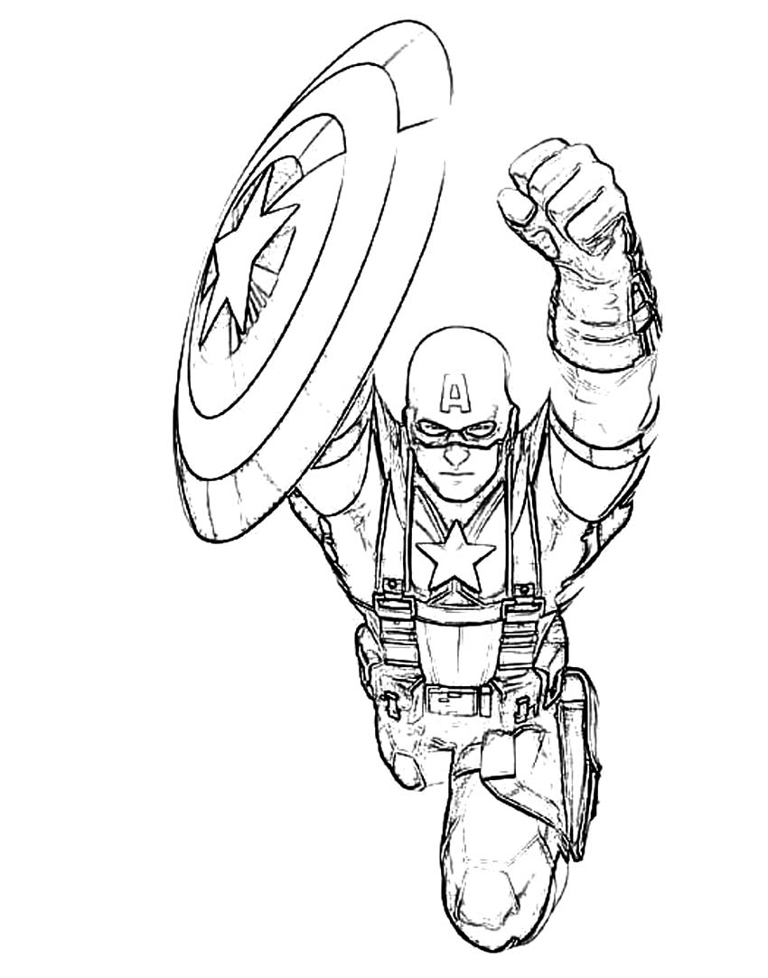 Captain America Flying Shield Coloring Page