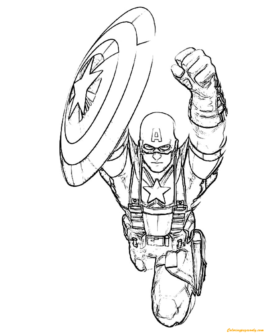 Captain america flying shield coloring page free for Captain america shield coloring page