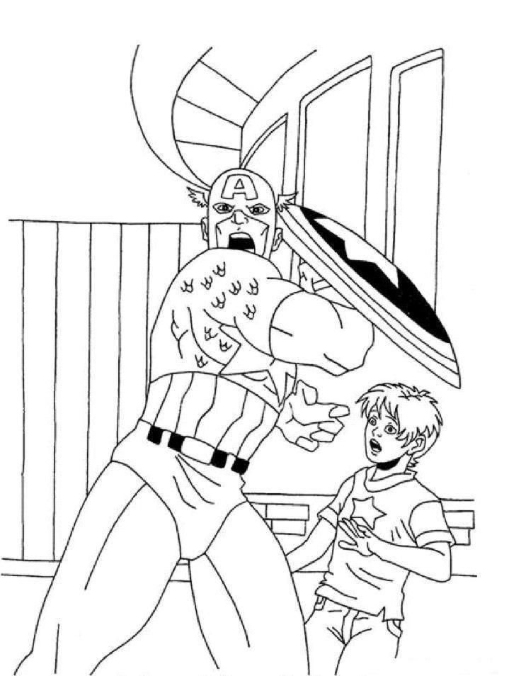 Captain America Protecting Boy