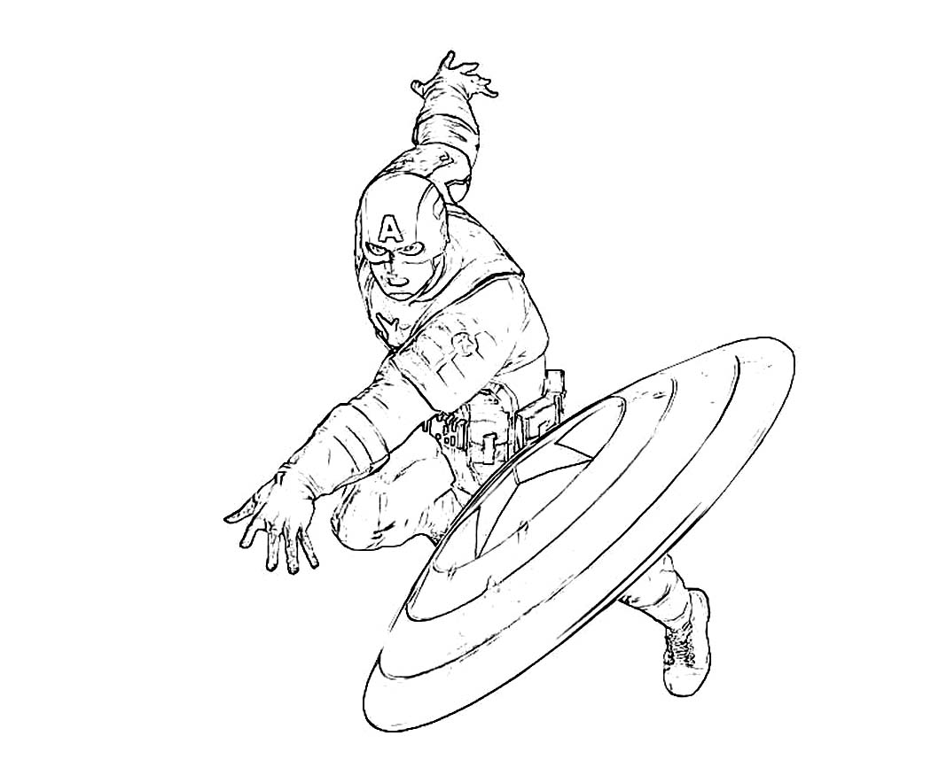 Captain America Throws A Shield Coloring Page