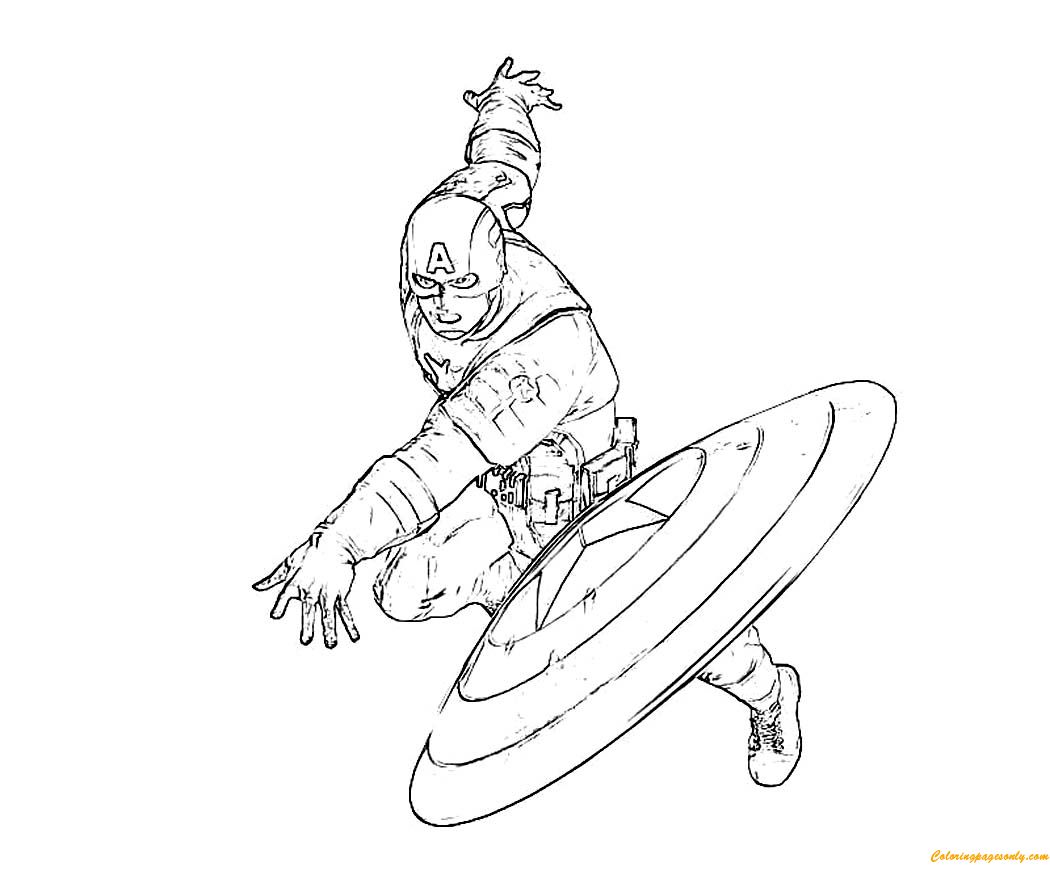 Captain america throws a shield coloring page free for Captain america shield coloring page