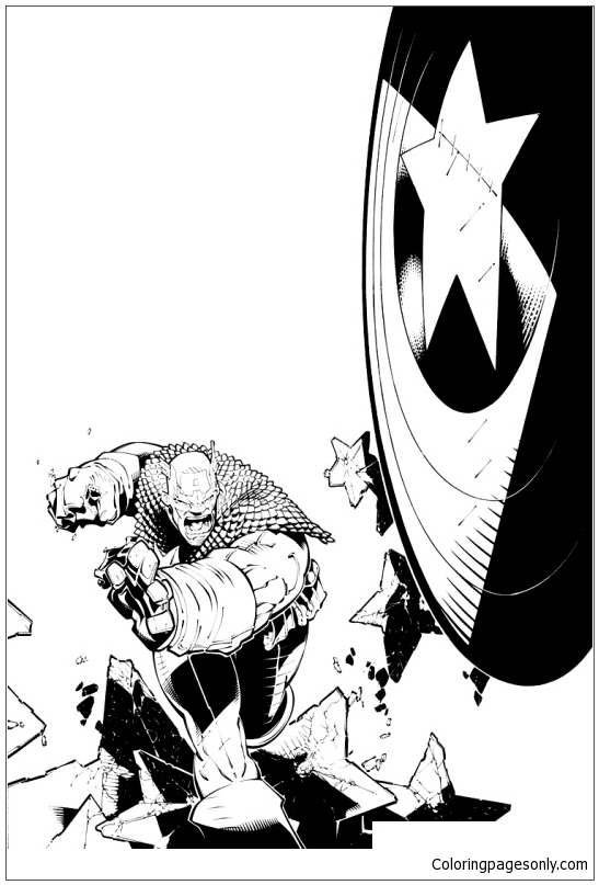 Captain Americas Throwing Shield Coloring Page Free