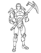 Carbide from Fortnite holds his weapon Coloring Page